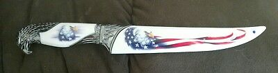 FIXED-BLADE BOWIE KNIFE | American Eagle USA Flag Fantasy Silver Blade