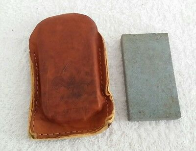 Vintage Official Boy Scout Sharpening Stone in Leather Case Pouch Camping Hiking