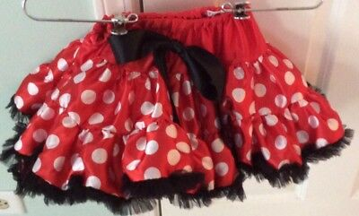 Girls Bouffant Red White And Black Minnie Mouse Tutu Size 2 NWOT