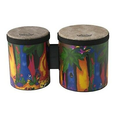 "Remo KD-5400-01 Kids Percussion Bongo Drum - Fabric Rain Forest, 5""-6"""