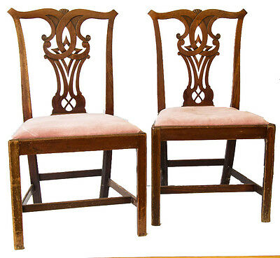 Stunning Pair Of Full Period Chippendale Standard Chairs With Delightful Carving