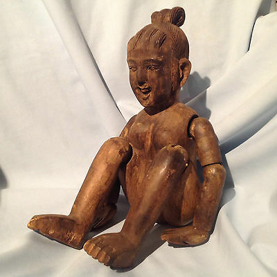 Vintage Folk Art Touch And Tell Articulated Carved Wood Medical Female Doll