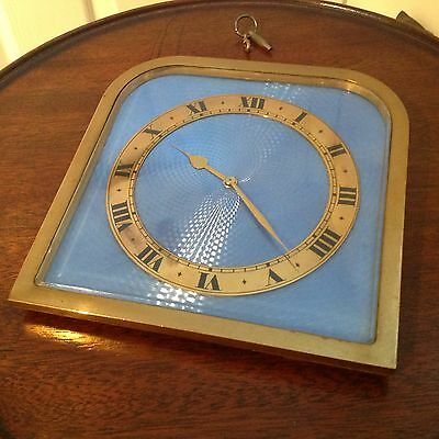 Edwardian  Goldsmith's  Blue  Guilloche  Enamel  Gilt Bronze  8-Day Clock