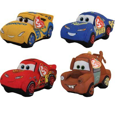 TY Disney / Pixar Cars 3 Beanie Babies Set of 4 Cruz Mater Hero Fabulous McQueen