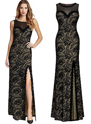 Long Evening Formal Party Cocktail Bridesmaid Prom Gown Wedding Black Lace Dress