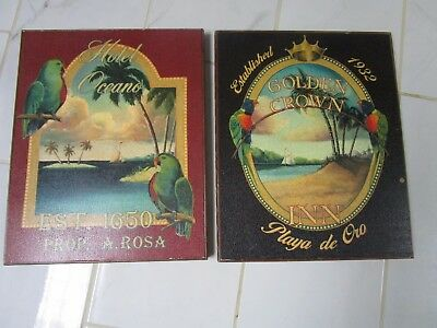 Pair Of Latin American Hotel  Vintage Signs On Board