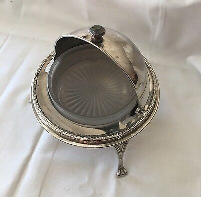 Sheffield Vintage Silver Plate Roll Top Dome Claw Foot Serving Dish w Insert