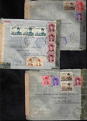 Egypt 1944 Us Three War Time Double Censored Covers In Egypt & Us Franked King