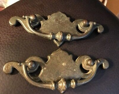 """2 Vtg Chippendale Brass Drop Drawer Pulls (Bails) - 4.5"""" and 2.5"""" on center"""