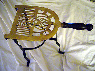 Vintage Brass & Cast Iron Trivet Iron Legs and Turned Wood Handle