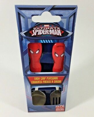 Spiderman Face  2Pce Easy Grip Flatware Spoon & Fork Cutlery Set