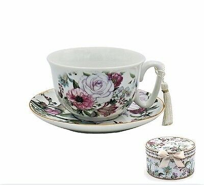 Floral Bouquet Fine Bone China Rose Floral Cup And Saucer In Presentation Box