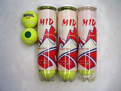 12 Teloon Midi Stage 1 Green Dot Low Compression Tennis Balls