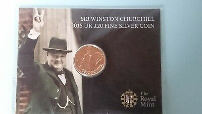2015 Churchill £20 Fine Silver Twenty Pound Coin New & Sealed The Royal Mint
