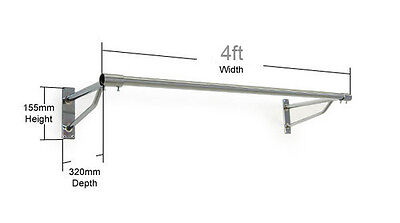 Wall Mounted 4Ft Long Tube Heavy Duty Rail Clothes Garment Display Screw Fix Fit