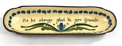 Vintage Longpark Motto Ware Pen Tray Ils Be Always Glad Tu Yer Frumee Chipped