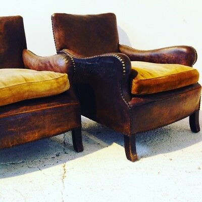 Pair of Leather antique armchairs Vintage French Chairs
