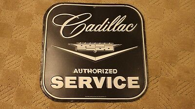 "Cadillac authorized service sign tin garage mancave 14"" x 14"""