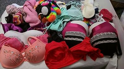 bundle 34 items of ladies underwear bras tights socks bikini tops bottoms rtc