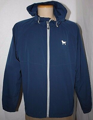 The Black Dog Avalanche Hooded Zip front Windbreaker Jacket Blue Men's Size L