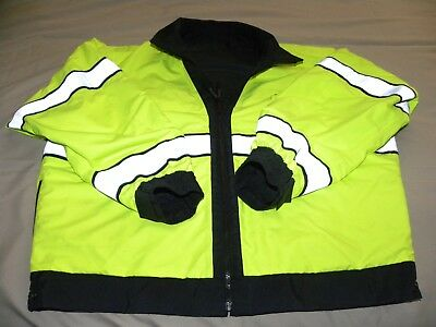 Mens Reflective Hi-Visibility Black/Yellow Reversible Safety Jacket by Blauser