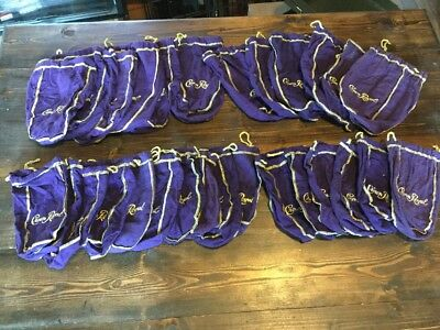 Lot of 28 Crown Royal Bags ,12 Large Size, 16 Small Size, All Purple and Gold