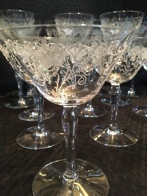 Antique Victorian Fine Etched Crystal Stemware Wine And Champagne Glasses 20