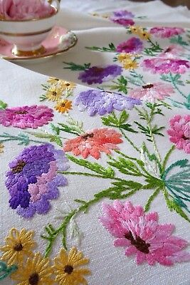 Exquisite Vintage Hand Embroidered Linen Tablecloth~ Colourful Chrysanthemums