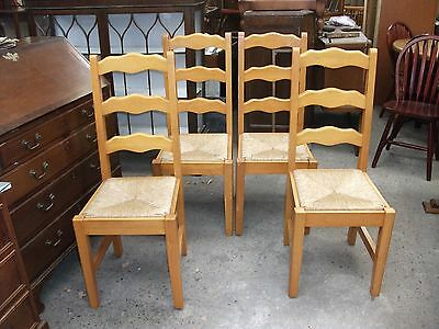 Set of 4 Chunky Solid Pine Ladder Back Country Kitchen Dining Chairs Rush Seats