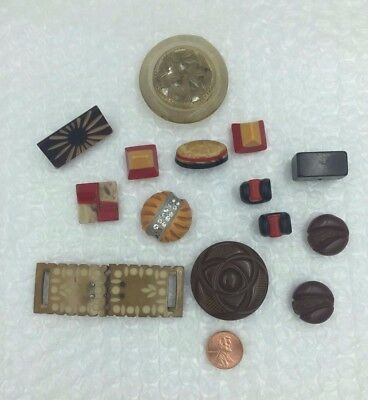 14 Pcs Group BAKELITE BUTTONS Carved-Laminated- Mixed Shapes & Size