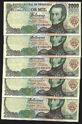 Venezuela 2000 BOLIVARES 10.2.1998 P 77b UNC LOT X 5 PCS OFFER !