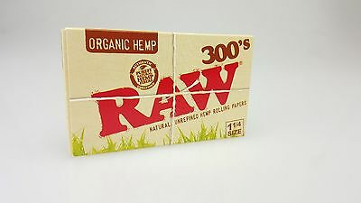 "Raw 300's Organic Hemp Rolling Papers 1.25""/ 300 Papers!!  ~ ORGANIC 1 PACK"
