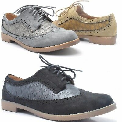 New Womens Flat Casual Loafers Lace Up Brogue Pumps Smart Comfy Shoes 3000-12