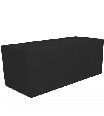 Banquet Table Cover 8' Fitted Tablecloth Black Full Cover Tables