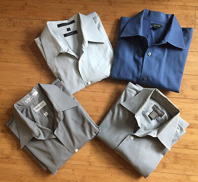 Lots of 4 Men Dress Shirts Banana Republic DKNY VanHeusen Marshall Fields Size M