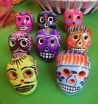 Authentic Mexican Folk Art Colourful Ceramic Day of the Dead Sugar Skull Small