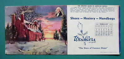 INK BLOTTER AD 1950s - G. Washington Birthplace House & Weschlers Shoes Erie PA