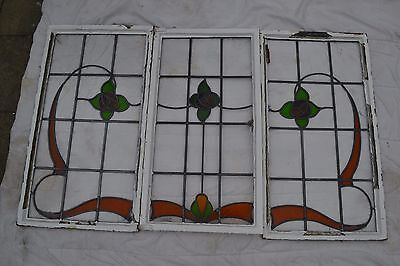 3 British joining leaded light stained glass windows. B244.  DELIVERY!