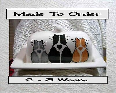 Three Cats On Butter Dish Handmade To Order 2 Piece Ceramic by Grace Smith