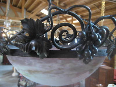 Muller Freres French Art Nouveau Chandelier, Signed Ceiling Light Wrought Iron