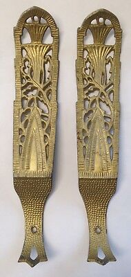 PAIR (2) ANTIQUE Vintage MATCHING CAST IRON GOLD SHELF BRACKETS  HARDWARE ORNATE
