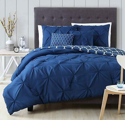 Queen King Bed Navy Blue White Geo Pinch Pleat Pintuck 5pc Comforter Set Bedding
