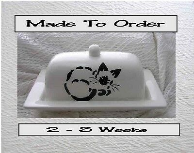 Butter Dish Siamese Cat Original Stencil Design Made To Order by Grace M Smith