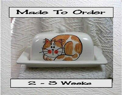 Ginger & White Cat Butter Dish Made To Order by Ceramic Artist Grace M Smith
