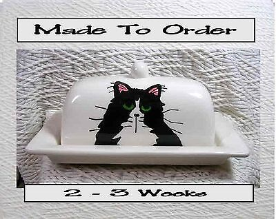 Tuxedo Cat On Butter Dish MADE TO ORDER 2 Piece Handmade In Clay by Grace Smith