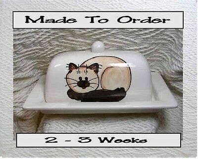 Butter Dish Himalayan Siamese Cat Design Made To Order by Grace M Smith