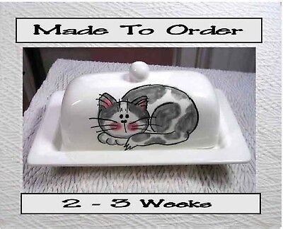 Gray & White Cat Butter Dish Clay Made To Order by Ceramic Artist Grace M Smith