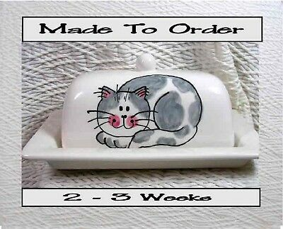 Gray & White Smiling Cat Butter Dish Made To Order Ceramic Artist Grace Smith