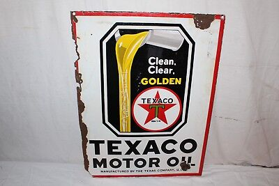 "Vintage c.1930 Texaco Motor Oil Gas Station 2 Sided 23"" Porcelain Metal Sign"