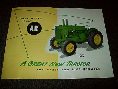 "John Deere ""ar"" Tractor Brochure Literature Mailer Advertisement"